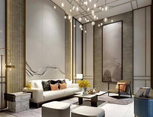 新中式客厅, 新中式沙发, 沙发茶几, 落地灯, 吊灯, 装饰画, 挂画, 电视柜