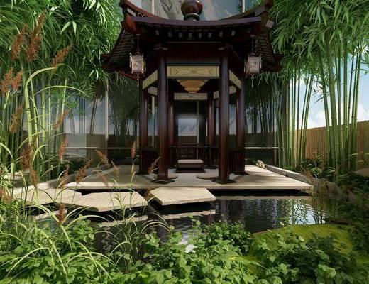 亭子, 竹子, 园艺小品, 花园, 园林