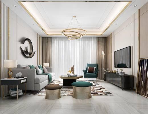 沙发组合, 装饰画, 电视柜, 吊灯, 地毯