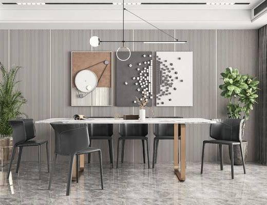 现代轻奢, 餐厅, 餐桌, 餐椅, 吊灯