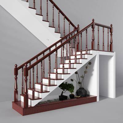 楼梯, 扶手, 现代, 实木