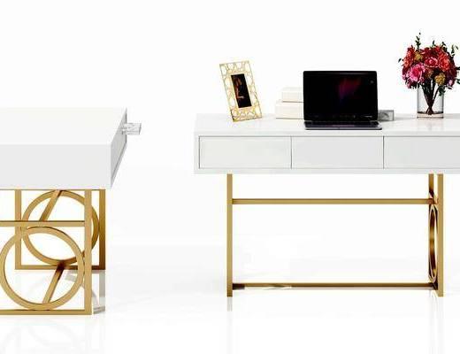 书桌, 笔记本, 花瓶, 现代
