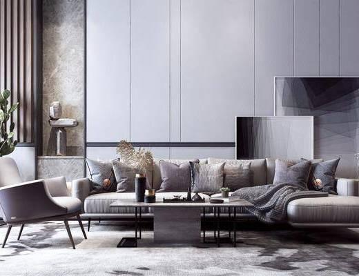 沙发组合, 茶几, 抱枕, 单椅, 装饰画