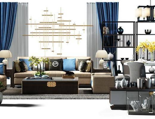 软装搭配, 窗帘, 沙发组, 装饰架, 沙发椅, 电视柜, 圆桌, 桌椅组合, 餐桌, 餐桌椅组合, 现代
