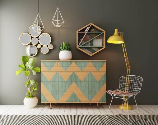 边柜, 装饰柜, 墙饰, 单椅, 盆栽