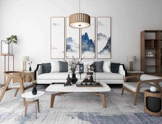 沙发组合, 新中式沙发组合, 茶几, 单椅, 挂画, 吊灯, 摆件组合, 茶具, 博古架, 植物, 盆栽, 新中式
