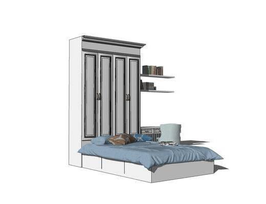 床具组合, 单人床, 衣柜