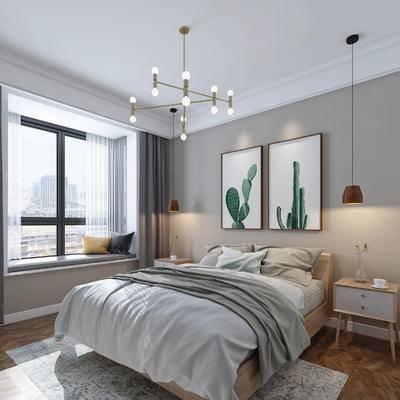 北欧卧室, 双人床, 挂画, 吊灯, 床头柜