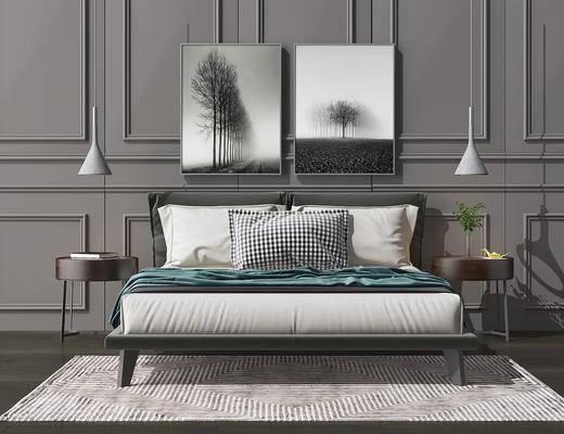 床具组合, 双人床, 床头柜, 吊灯, 装饰画, 挂画, 北欧
