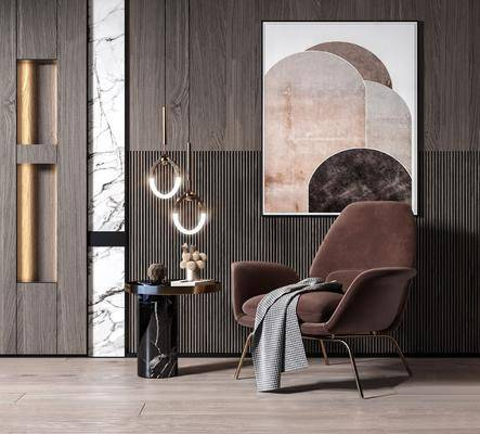 单人沙发, 单椅, 吊灯, 边几, 装饰画