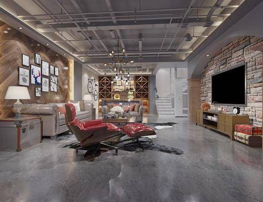 娱乐室, 影音室, 沙发组合, 茶几, 电视柜, 电视, 吊灯, 装饰画, 单椅