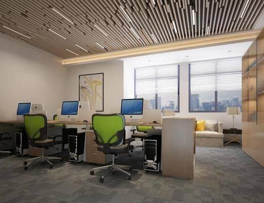办公室, 现代办公室, 办公桌, 单椅, 桌椅组合, 现代