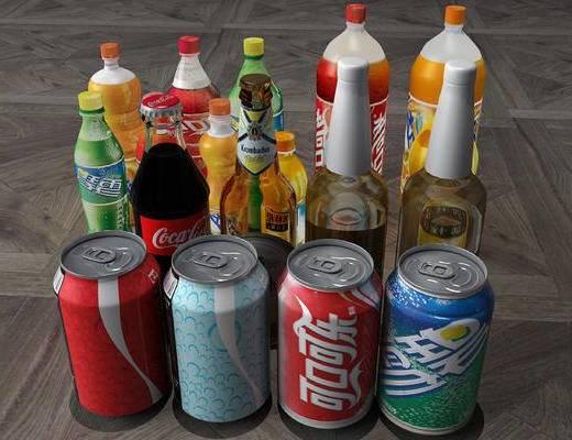 啤酒, 橙汁, 雪碧, 冰箱, 冰柜