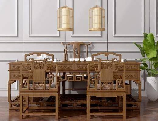 办公桌椅, 写字桌, 洽谈桌, 新中式鸟笼, 吊灯