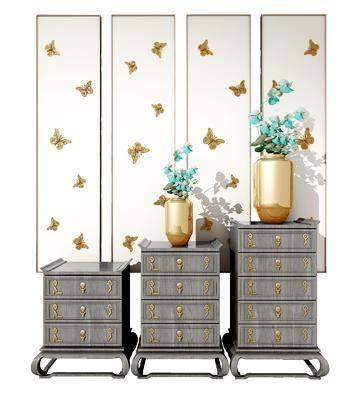 斗柜, 边柜, 玄关柜, 花瓶, 装饰画, 挂画, 新中式, 中式