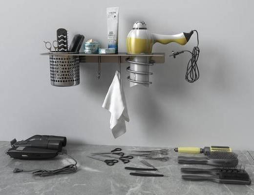 电推梳子, 梳子剪刀, 吹风机组合, 现代