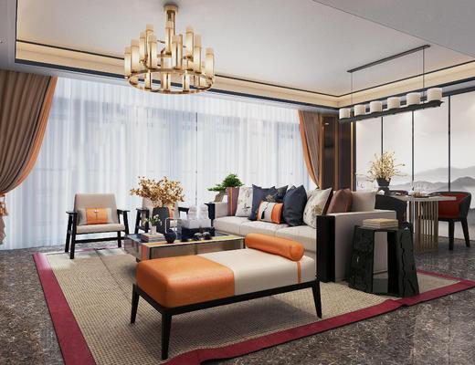 新中式, 客厅, 沙发茶几组合, 吊灯, 茶具组合, 陈设品组合