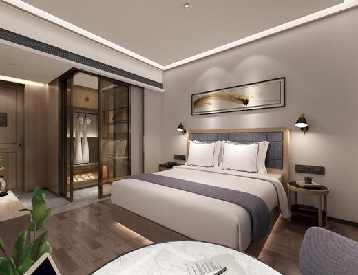 中式酒店, 双人床, 衣物, 挂画