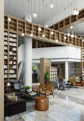 售楼处, 书架, 书籍, 桌椅组合, 沙发组合, 盆栽植物, 吊灯