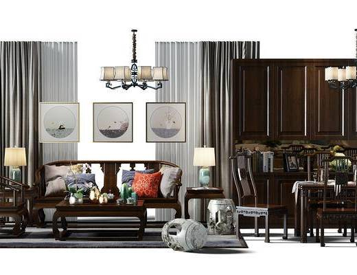 窗帘, 吊灯, 沙发组, 椅子, 酒柜, 鞋柜, 餐桌椅组合, 桌椅组合, 餐桌, 凳子, 鼓凳, 组合画, 中式