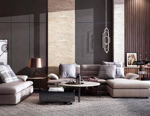 现代, 沙发组合, 多人沙发, 贵妃椅, 茶几, 边几, 吊灯, 台灯