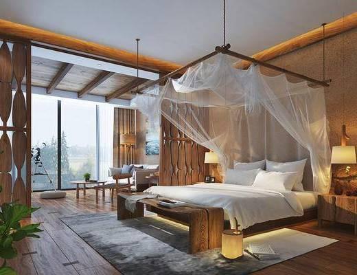 雙人床, 床具組合, 沙發組合, 茶幾