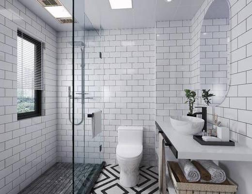洗手臺, 洗漱用品, 淋浴房, 馬桶, 衛浴, 洗浴組合, 擺件