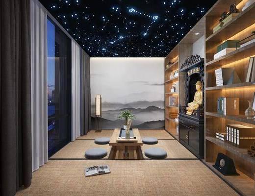 茶室, 茶桌, 书柜, 佛像, 落地灯, 盆栽, 新中式