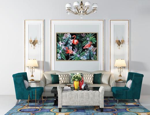 美式沙发组合, 美式多人布艺沙发, 美式单人沙发, 茶几, 脚蹬, 挂画, 吊灯