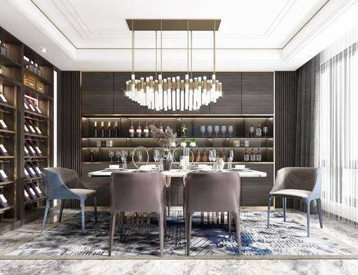 餐桌, 餐椅, 酒柜, 吊灯, 餐具, 装饰品, 桌椅组合