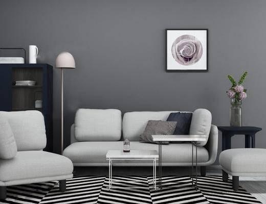 沙发组合, 茶几, 落地灯, 装饰画, 单椅, 置物柜