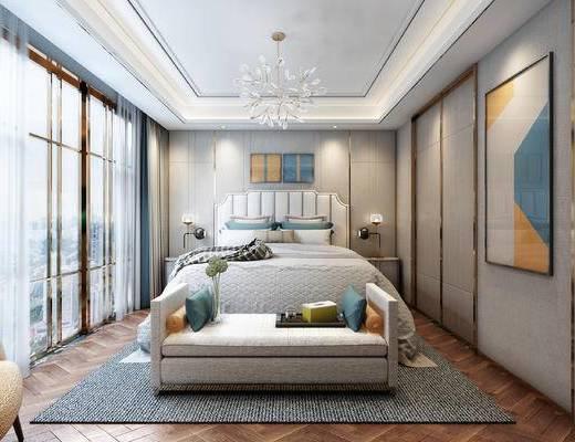 后现代卧室, 卧室, 床, 软榻, 电视柜, 吊灯