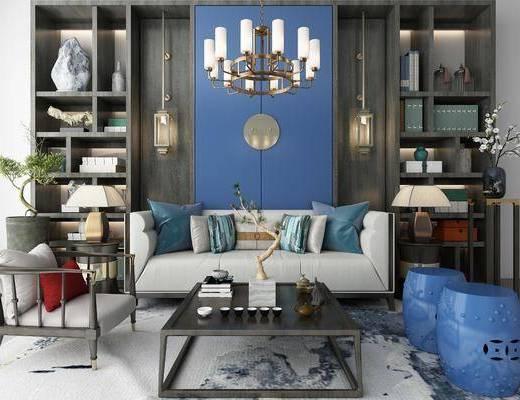 沙发组合, 多人沙发, 双人沙发, 茶几, 凳子, 单人沙发, 吊灯, 装饰柜, 装饰架, 花瓶花卉, 盆栽, 干树枝, 摆件, 装饰品, 陈设品, 新中式