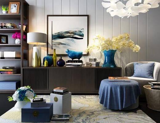 边柜, 装饰柜, 单人沙发, 边几, 台灯, 装饰画, 挂画, 摆件, 装饰品, 陈设品, 现代