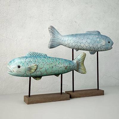 现代摆件, 鱼, 塑料, 木架, 现代