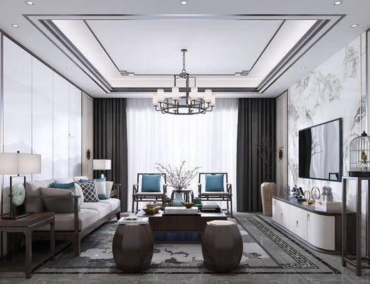 客厅, 多人沙发, 茶几, 单人沙发, 凳子, 边几, 台灯, 吊灯, 电视柜, 边柜, 装饰架, 摆件, 装饰品, 陈设品, 新中式