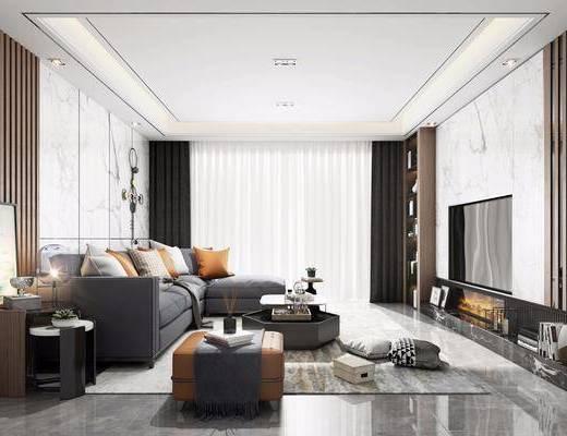 沙发组合, 茶几, 边几, 装饰画