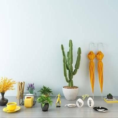 绿植, 仙人掌, 伞, 花瓶, 摆件, 咖啡杯