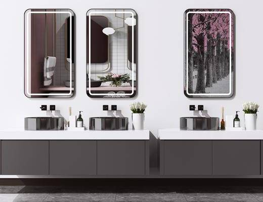 洗手台, 洗面盆, 壁镜, 摆件组合