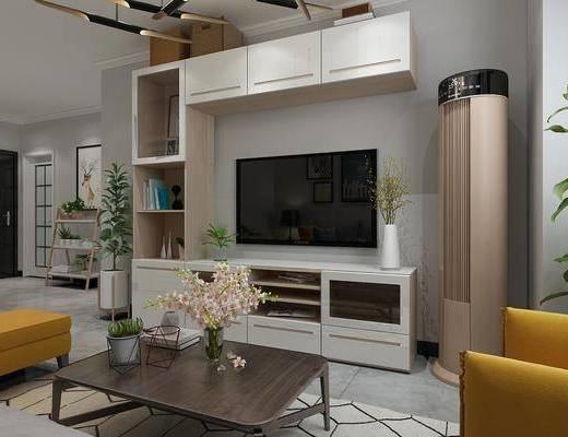 北欧, 客厅, 沙发, 电器, 餐桌椅, 餐厅