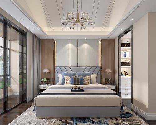 后现代卧室, 卧室, 双人床