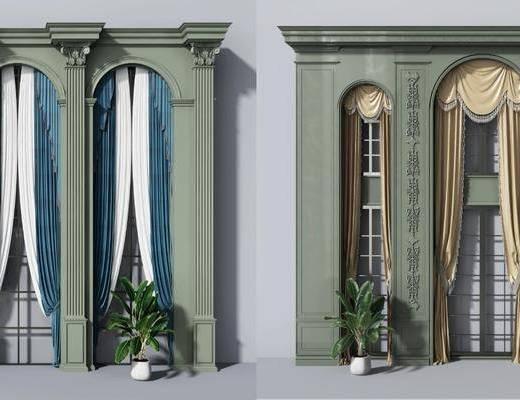 欧式窗帘, 窗帘, 窗户