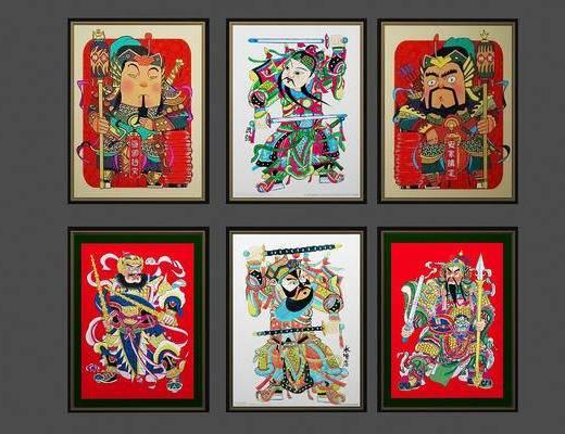 门神, 挂画, 中式