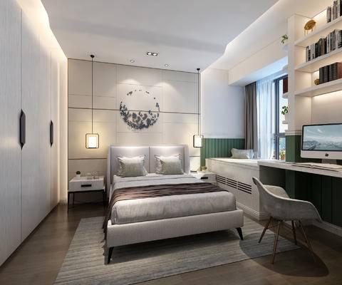 卧室, 现代卧室, 现代, 床, 床头柜, 吊灯