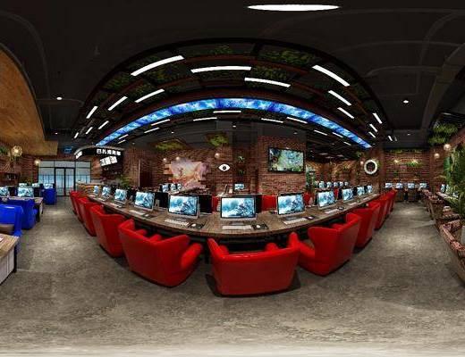 网咖, 工装全景, 电脑桌, 单人沙发, 盆栽, 绿植植物, 装饰架, 吊灯, 植物墙, 工业风