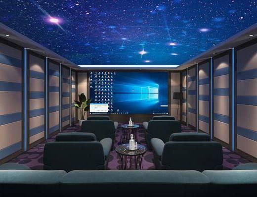 影音室, 家庭影院, 落地灯, 单人沙发, 边几, 盆栽, 现代