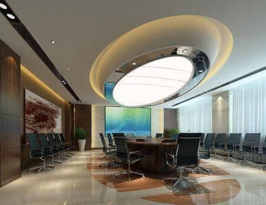 会议室, 办公桌, 办公椅, 会议桌, 单人椅, 盆栽, 绿植植物, 装饰画, 挂画, 现代