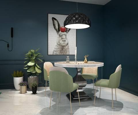 法式餐桌椅组合, 吊灯, 装饰画, 圆桌, 盆栽, 植物
