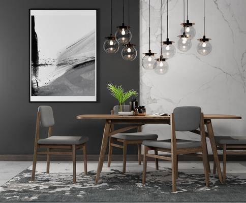桌椅组合, 餐桌, 单椅, 椅子, 北欧餐桌椅组合, 吊灯, 挂画, 餐具, 植物, 北欧