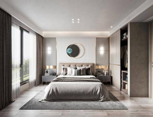 现代卧室, 双人床, 床头柜, 衣柜